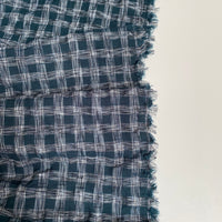 Woven Crinkle Check Fabric - Petrol Green - 0.5 metre