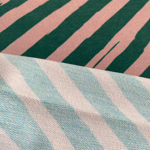 French Terry (looped back) - Emerald Candy Cane - 0.5 metre