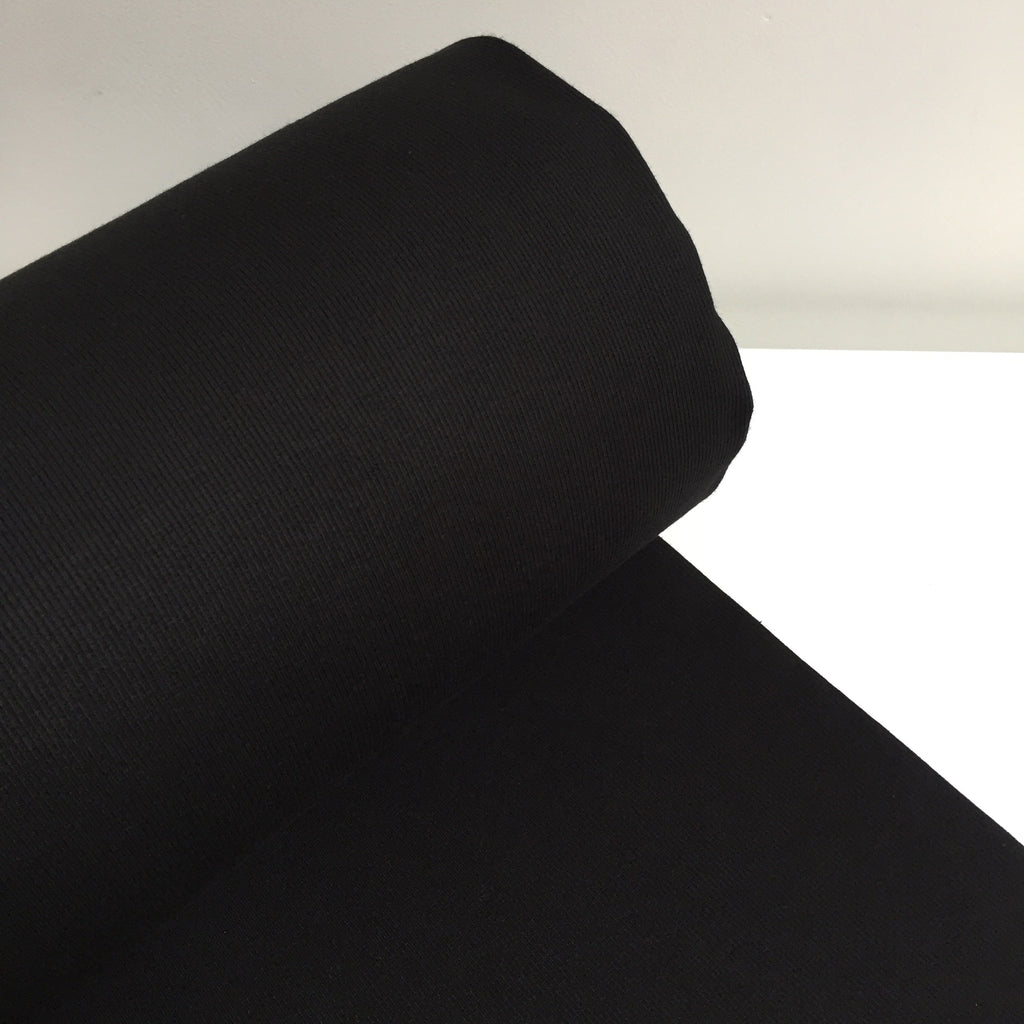 Organic Cotton Tubular Ribbing - Black - 0.5 metre
