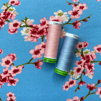 Organic French Terry (brushed) - Blossom - Light Blue -  0.5 metre