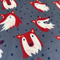 Cotton Jersey - Fox, grey/blue - 0.5 metre