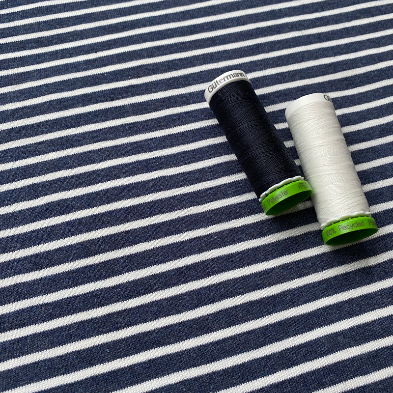 Cotton Jersey - Stripes - Navy/White - 0.5 metre