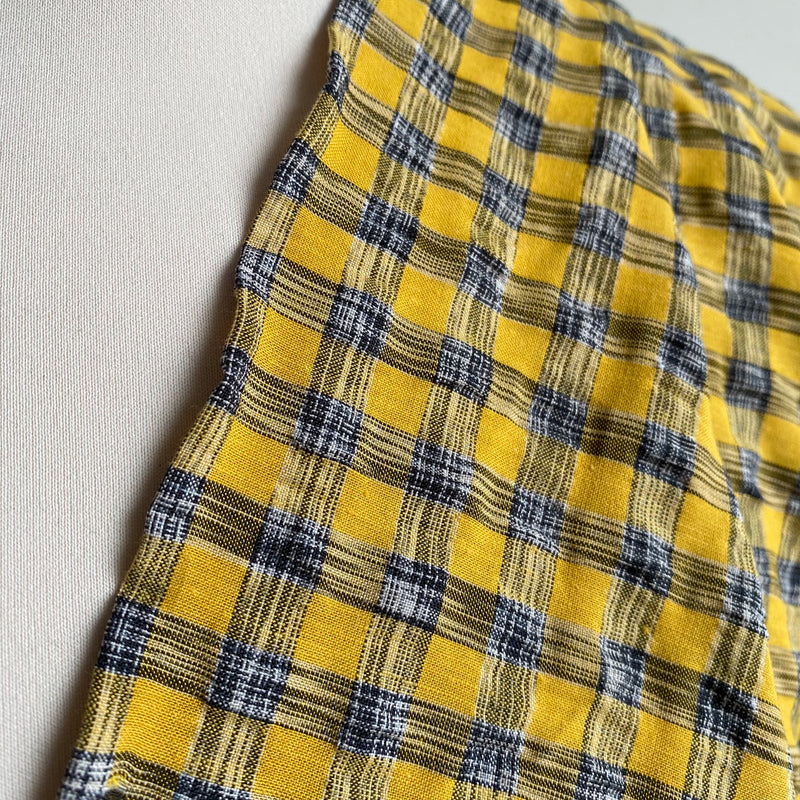 Woven Crinkle Check Fabric - Yellow - 0.5 metre