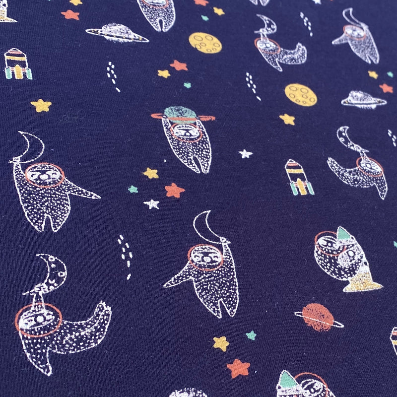 Organic Cotton Jersey - Sloths in Space - Navy - 0.5 metre