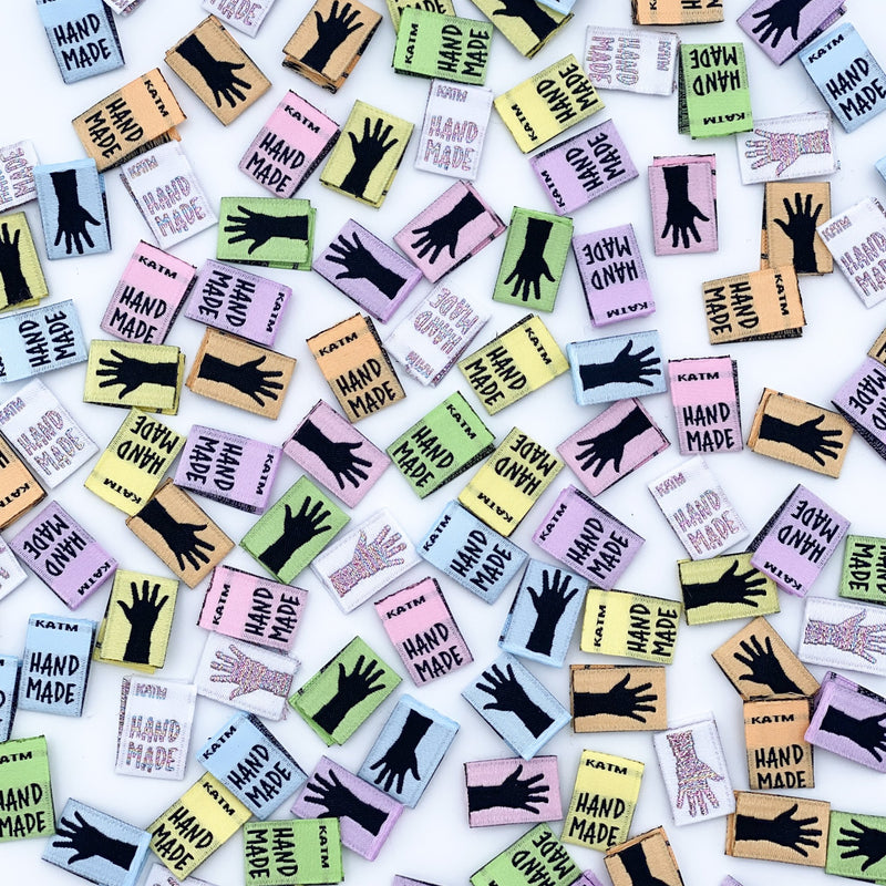 MINI RAINBOW HANDS - Pack of 14 Woven Labels