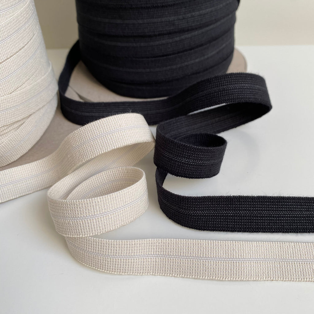 Organic Fold Over Elastic - 5mm - Available in Ecru and Black
