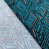 Imperial Mess - French Terry - Geometric Pattern, Teal - 0.5 metre