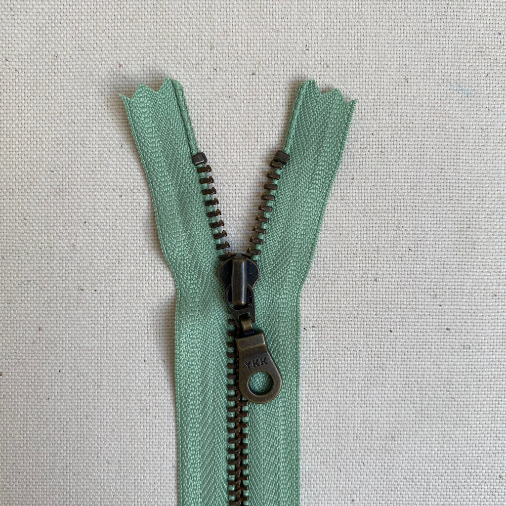YKK No. 3 Antique Brass Metal Zip with NATULON® Recycled Tape - Closed End - PEPPERMINT GREEN