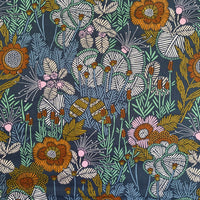 Organic Cotton by Cloud9 - Embroidered Floral - 0.5 metre