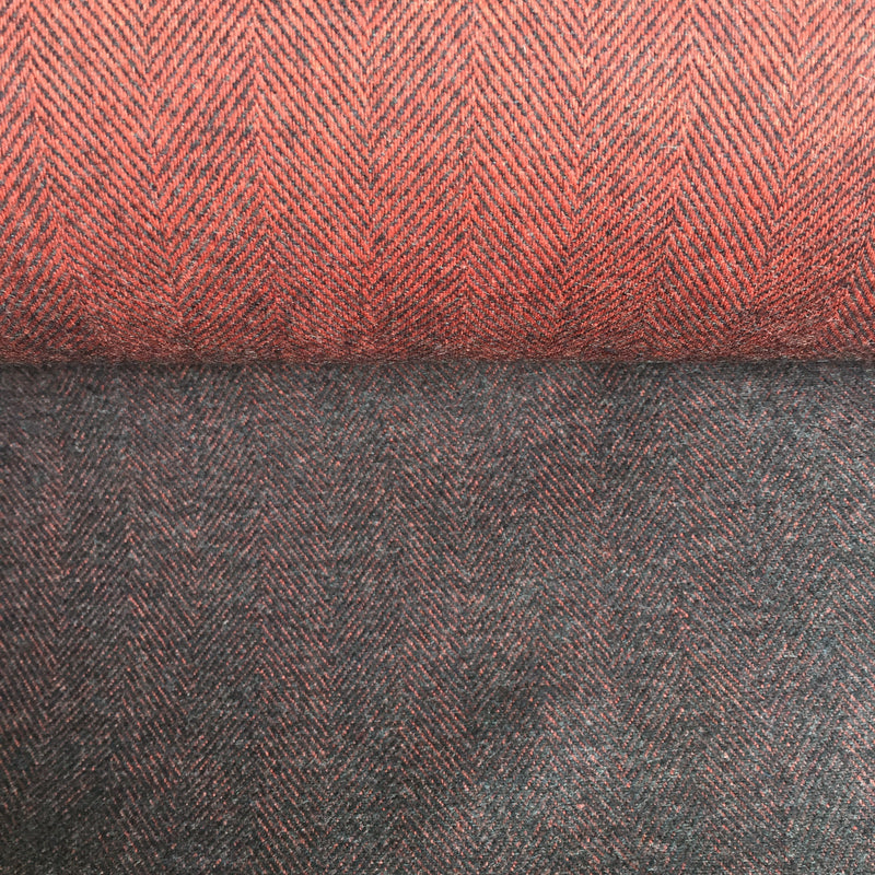 Herringbone Flannel - Rusty Red/Grey - 0.5 metre