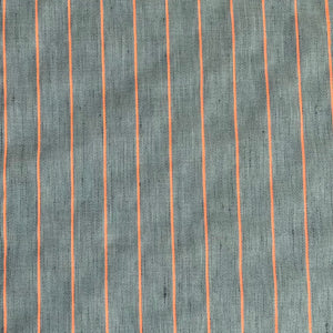 Cotton/Linen/Viscose Mix Fabric - Neon Stripes - Steel Blue - 0.5 metre