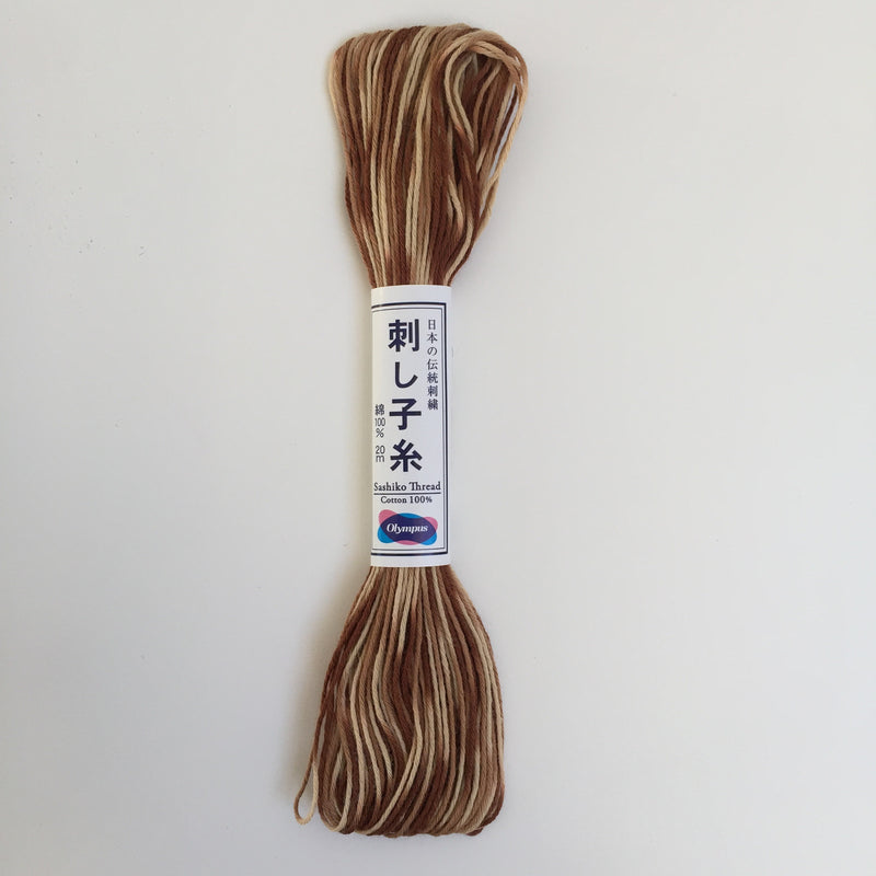 Olympus Japanese Sashiko Thread - 20m - Variegated Brown (#94)