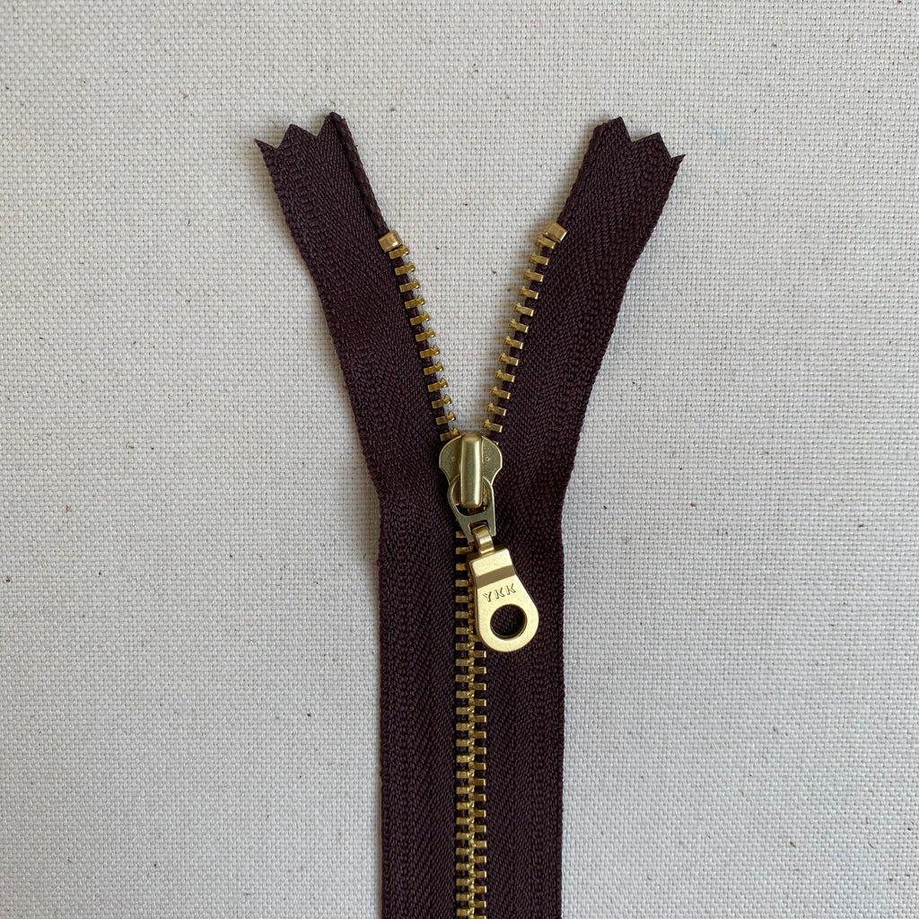 YKK No. 3 Gold Brass Metal Zip with NATULON® Recycled Tape - Closed End - BROWN