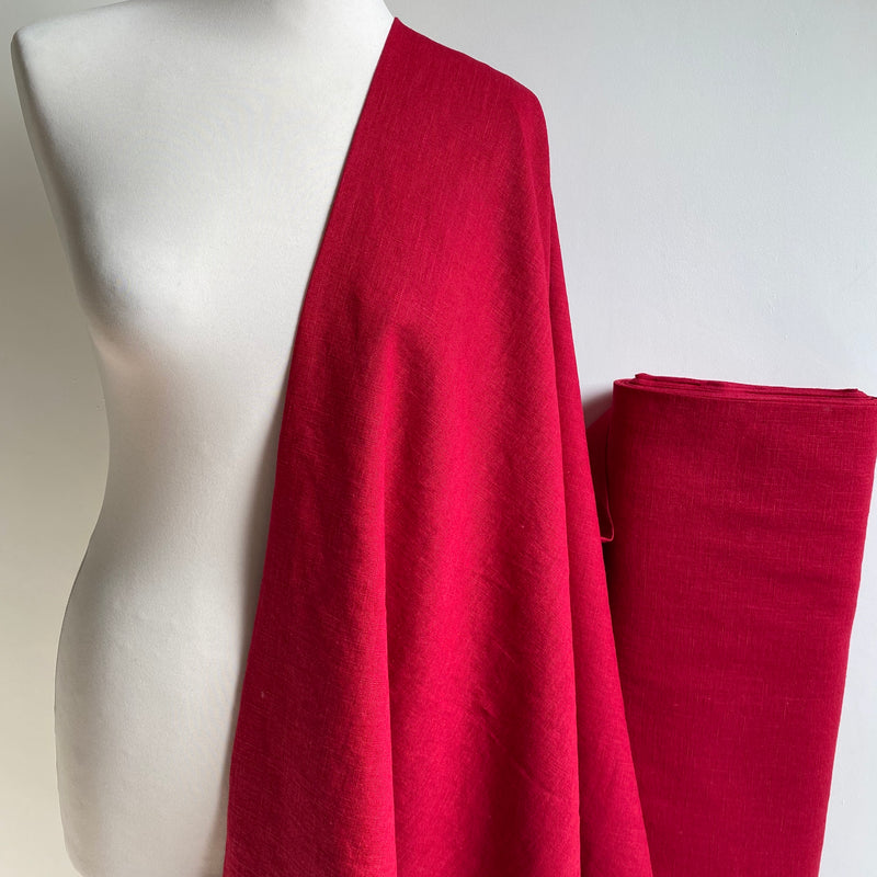 Enzyme Washed Linen - Cherry Red - 0.5 metre