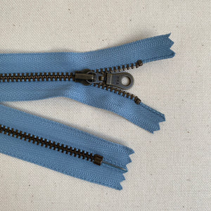 **MULTIPACK** YKK No. 3 Antique Brass Metal Zip with NATULON® Recycled Tape - Closed End - BLUE HERON