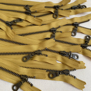 **MULTIPACK** YKK No. 5 Antique Brass Metal Zip with NATULON® Recycled Tape - Closed End - MUSTARD
