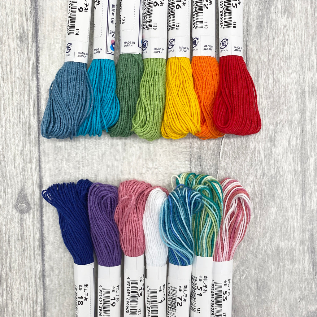 Sashiko Japanese Cotton Embroidery Thread Collection - Starter Set - 15 Skeins