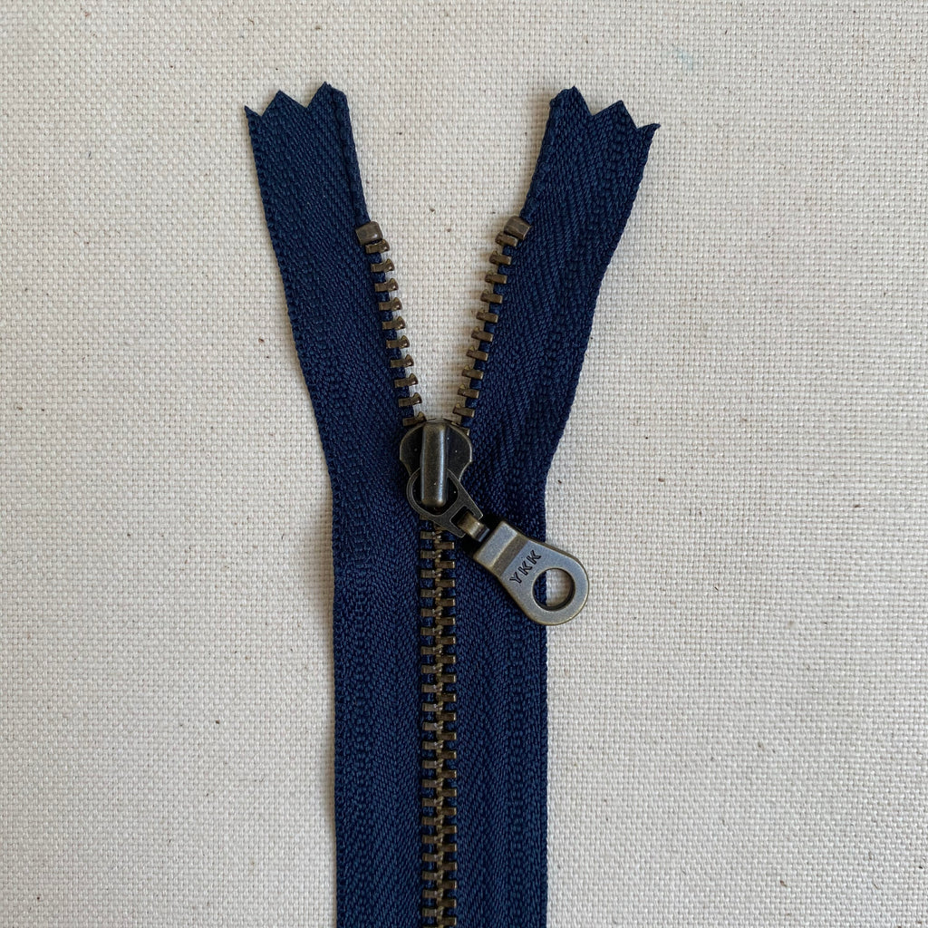 YKK No. 3 Antique Brass Metal Zip with NATULON® Recycled Tape - Closed End - ATLANTIC BLUE