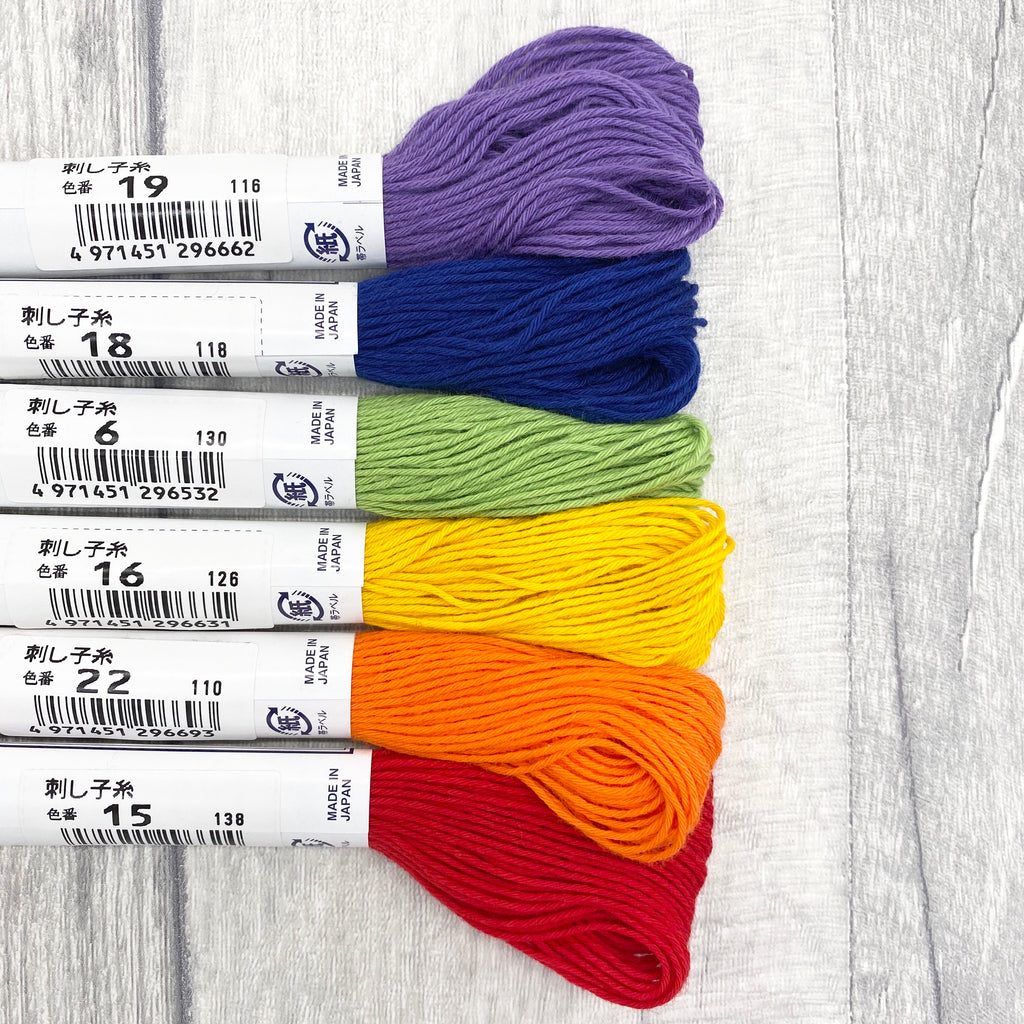 Sashiko Japanese Cotton Embroidery Thread Set - Rainbow