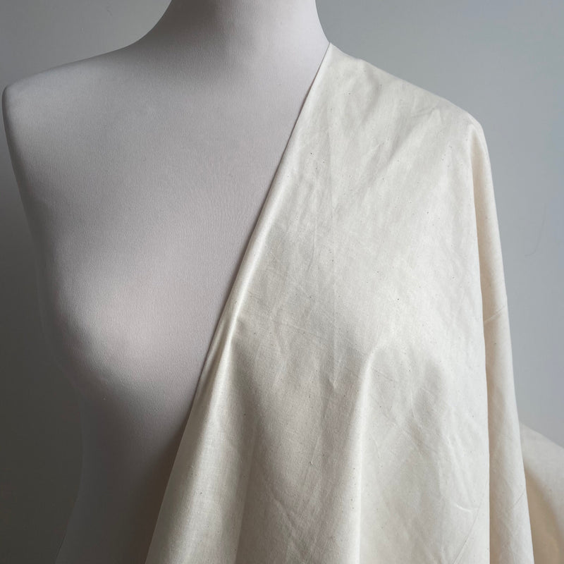 Cotton Calico Fabric - natural, unfinished - 0.5 metre