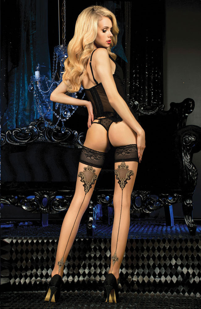 Seamed Lace Top Hold-Ups