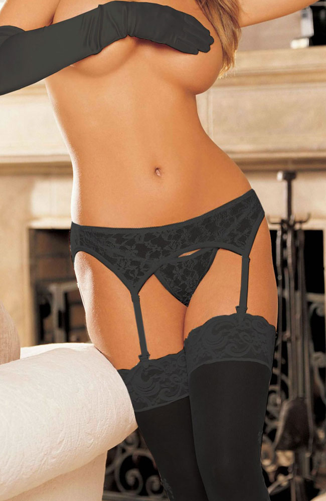 Shirley of Hollywood Black Garter Belt and G-string Set