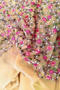 Georgette Kurta Fabric with embroidery