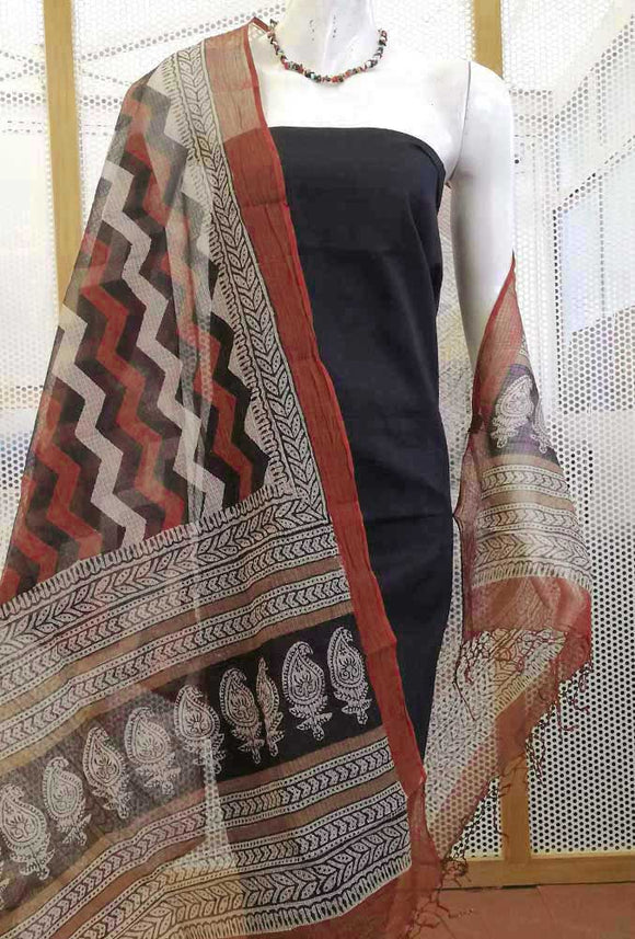 Beautiful Bagru Hand Block Printed Kota Doria Dupatta