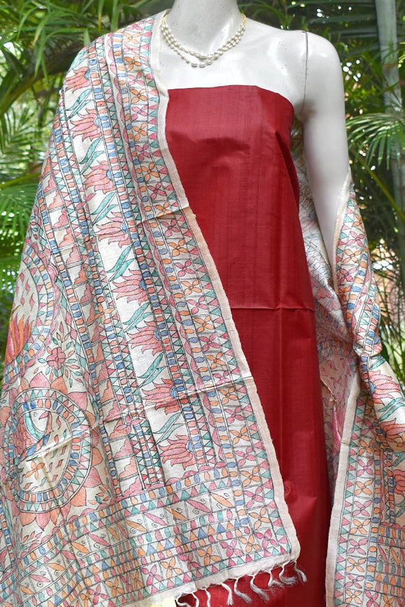 Beautiful Handmade Madhubani art Tussar dupatta with Tussar Silk kurta fabric