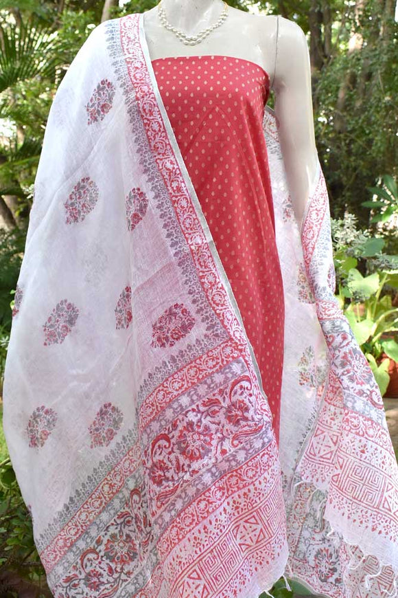 Elegant Linen dupatta with Woven Cotton Kurta Fabric set