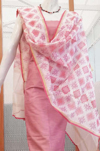 Chanderi Sico dupatta with hand block printed pattern