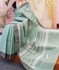 Elegant Chettinad Cotton Saree with Woven border ( without BP)