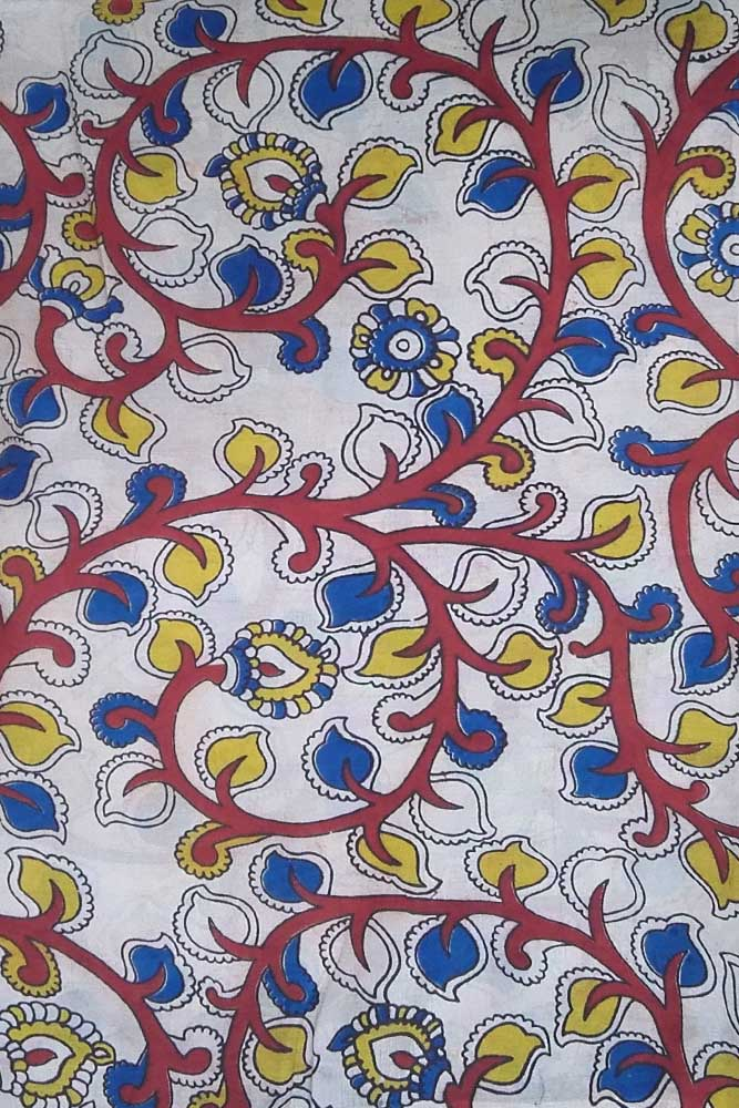Block printed Kalamkari Faux Silk fabric