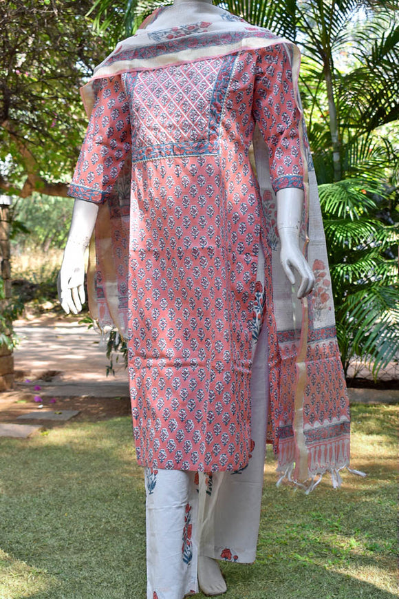 Hand Block Printed Cotton suit - Kurta , Dupatta & Pant