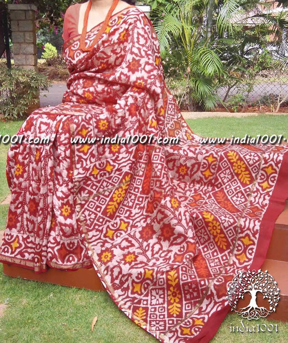 Elegant Chanderi Saree with Batik work
