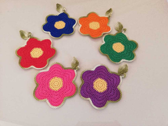 its spring! - Handcrafted crochet coaster ( Set of 6)