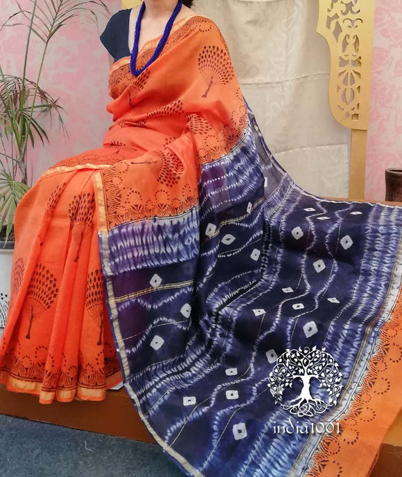 Elegant Chanderi Saree with Block Print & Shibori Palla