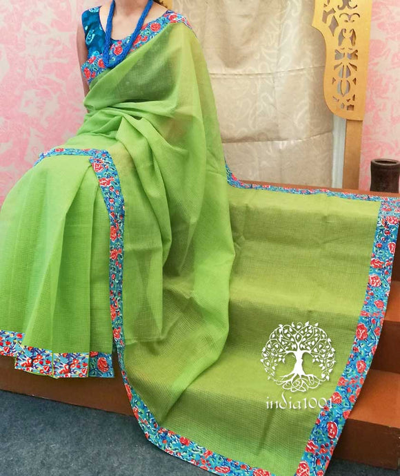 Elegant Kota Cotton Saree with block printed borders & blouse pc