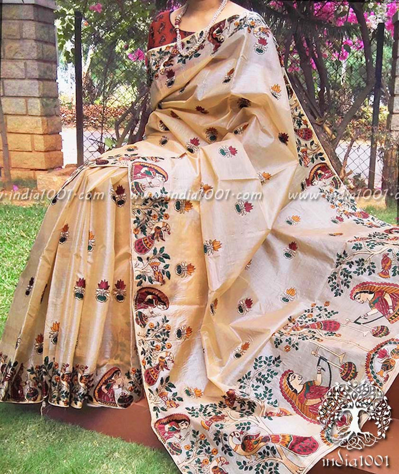 Designer Tussar Silk  Saree with embroidery work