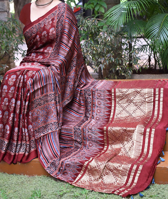 Elegant Hand Block Printed Ajrakh Modal Silk Saree with woven Tissue Palla