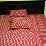 Discharge Hand block printed Double Bed sheet with pillow covers ( Super King size)