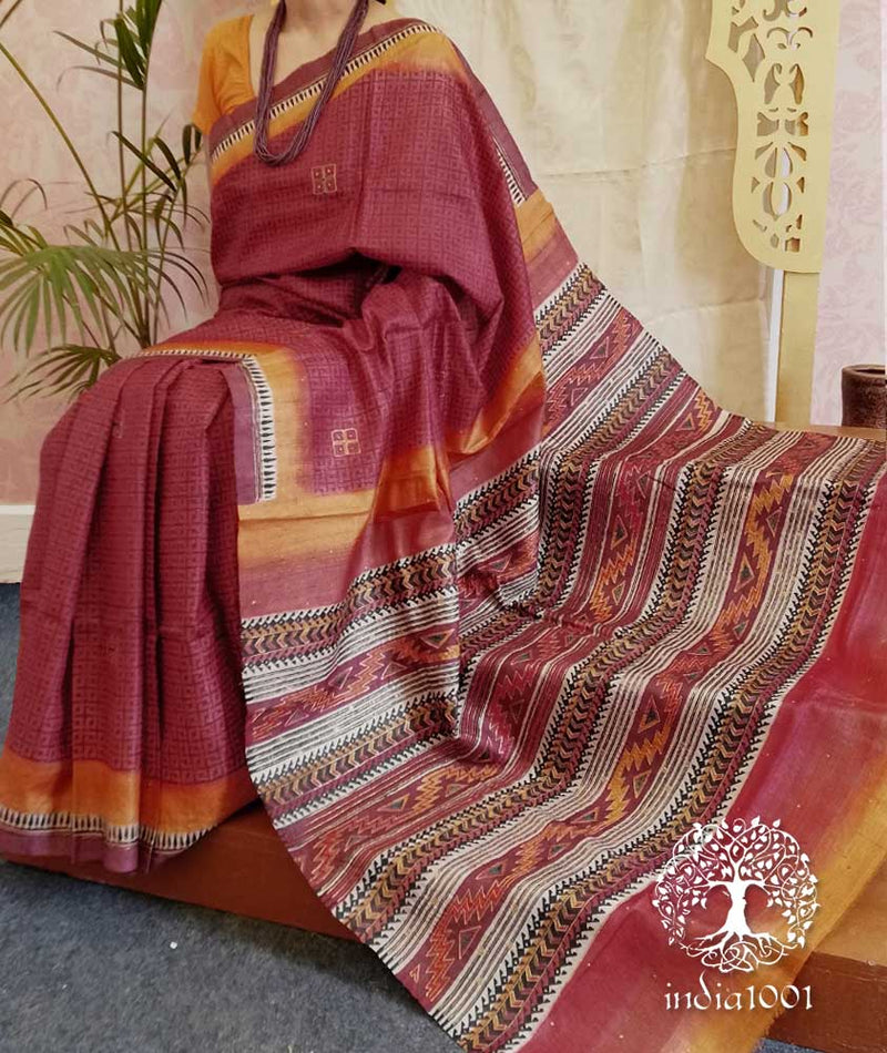 Elegant Desi Tussar Silk Saree with embroidery