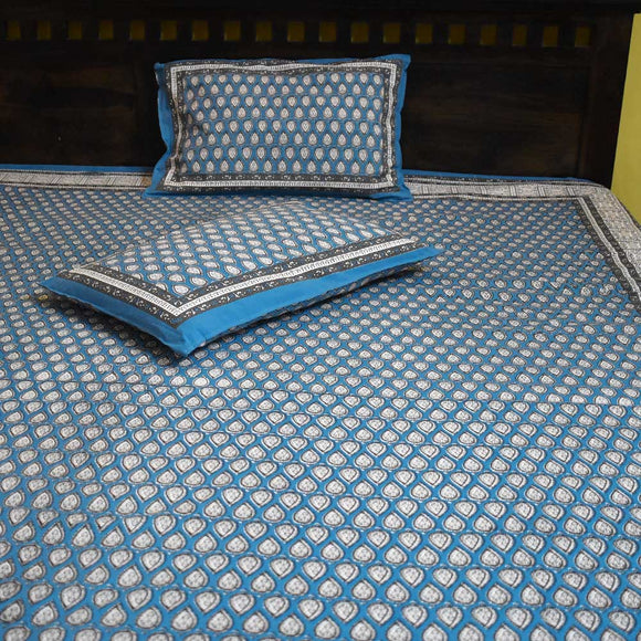 Aalankrit printed King Size Double Bed sheet with pillow covers