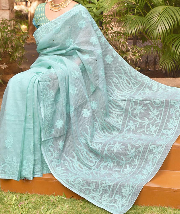 Elegant Kota cotton Saree with Lucknowi Chikankari & Muqaish work with Heavy work palla.