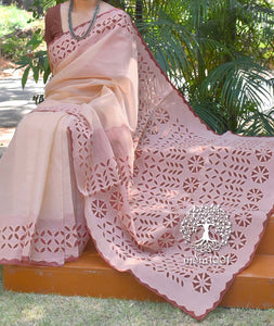 Elegant Organdy saree with Hand Applique & Cutwork