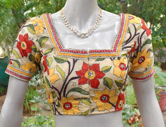 Hand Embroidered Nakkshi Kantha  Blouse Size - 36, 38