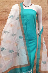 Embroidered Tussar Silk Dupatta  & Silk Cotton Kurta combo