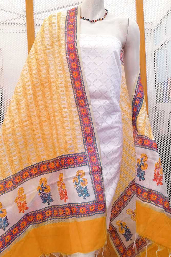 Beautiful Hand block printed Slub cotton dupatta with zari borders