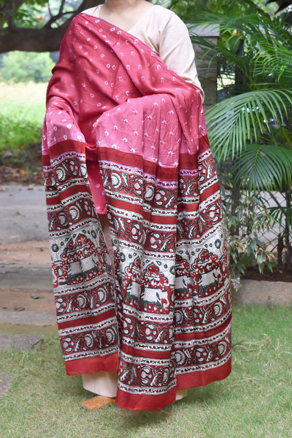 Beautiful Bandhani & Block Print Modal Dupatta