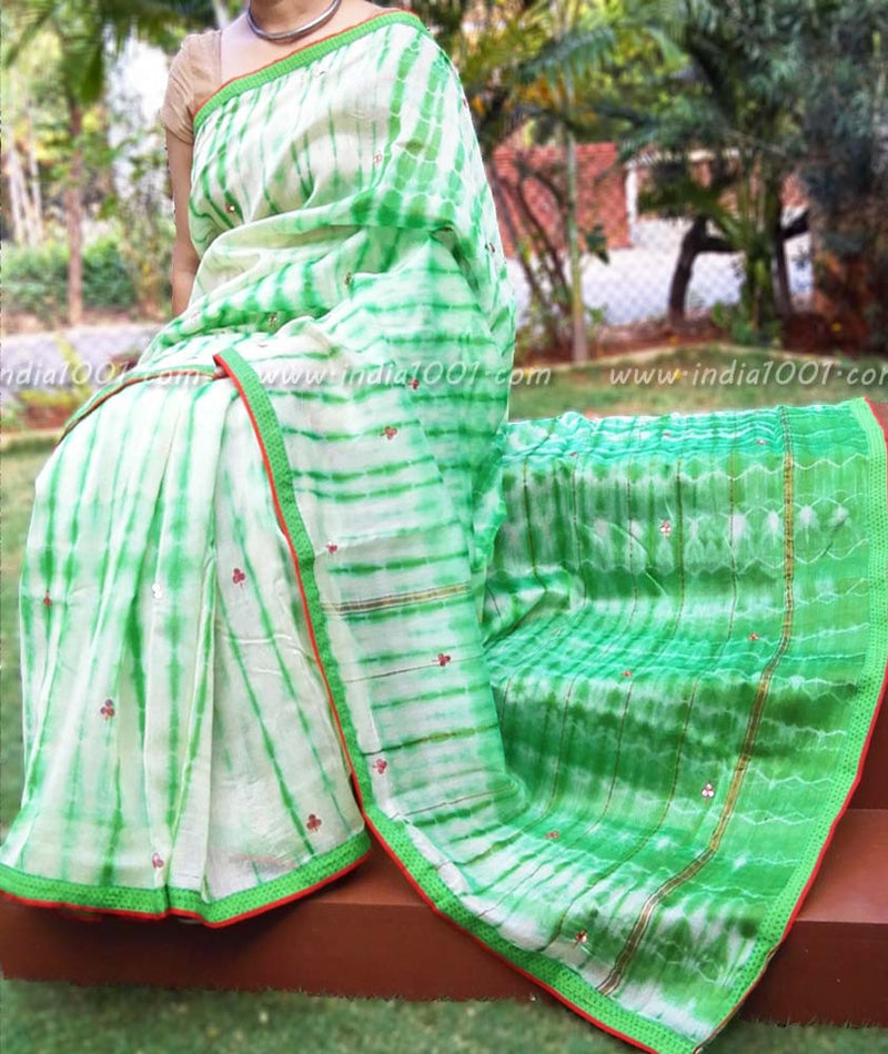 Elegant Chanderi Saree with Shibori patterns,Mirror work & Stitched borders
